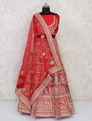 Pretty bridal wear red silk semi stitched lehenga choli