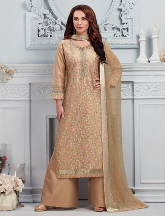 Pretty cotton silk beige punjabi palazzo suit