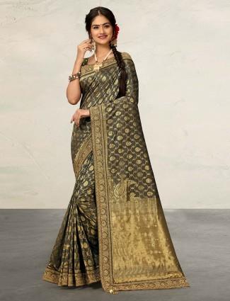 Pretty grey banarasi silk saree