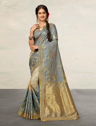Pretty grey wedding saree in banarasi silk