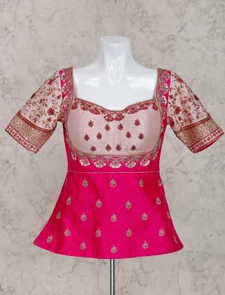 Pretty magenta designer raw silk ready made blouse