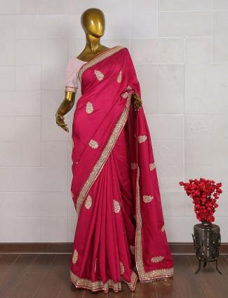 Pretty magenta hue silk saree
