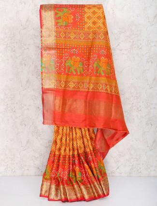 Pretty orange semi silk sari