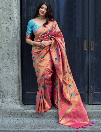 Pretty peach color color kanjivaram silk saree
