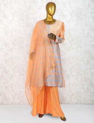 Pretty peach color cotton silk palazzo suit