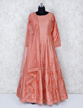 Pretty peach festive cotton silk floor length gown