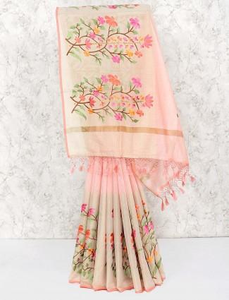 Pretty peach festive saree