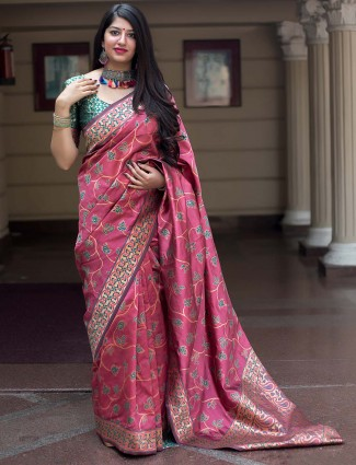 Pretty peach hue banarasi silk saree