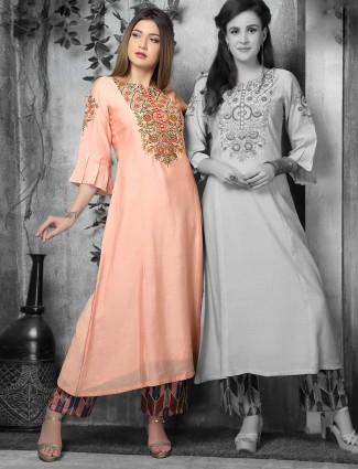 Pretty peach hue cotton silk kurti
