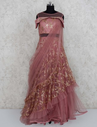 Rose pink net fabric ruffle gown for party wear