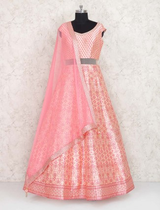 Pretty peach printed anarkali suit in silk
