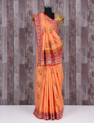 Pretty peach silk saree