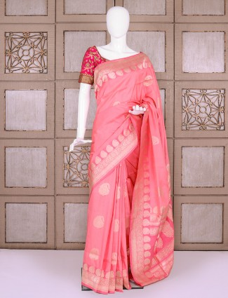Pretty pink banarasi silk saree for party function