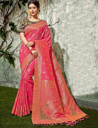 Pretty pink beautiful saree in semi silk