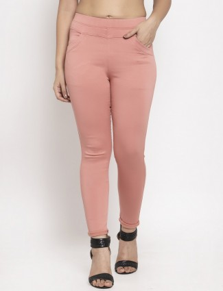 Pretty pink casual wear cotton jeggings