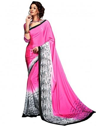 Pretty pink casual wear printed crepe saree