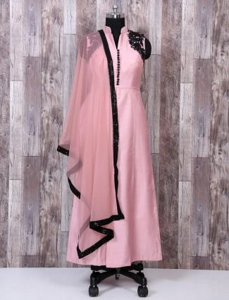 Pretty Pink color festive wear palazzo suit