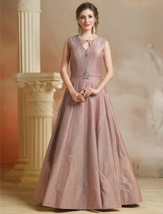Pretty pink color jute fabric gown