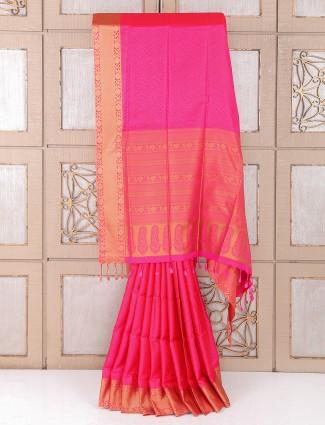 Pretty pink color silk fabric wedding saree