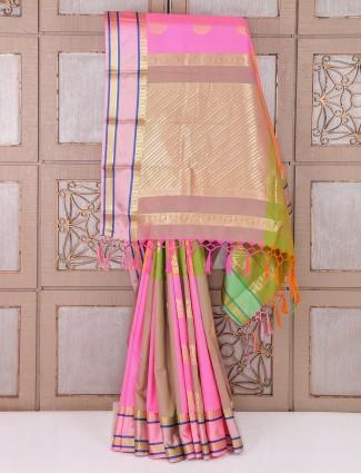 Pretty pink color silk wedding saree
