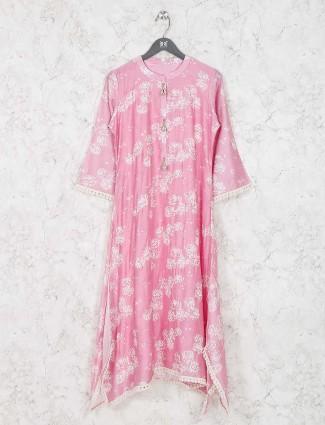 Pretty pink colored cotton fabric kurti