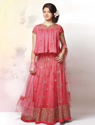 Pretty pink colored net fabric lehenga choli