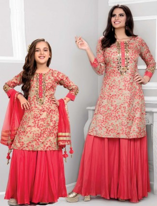 Pretty pink cotton mother daughter combo palazzo set