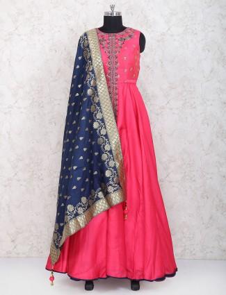Pretty pink cotton silk floor length anarkali suit