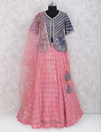 Pretty pink cotton silk party lehenag choli