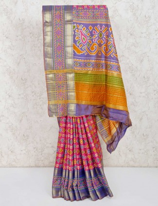 Pretty pink cotton silk patola printed saree