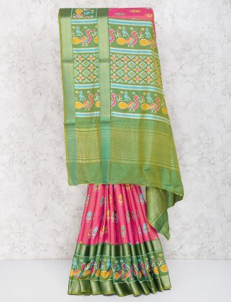 Pretty pink cotton silk saree