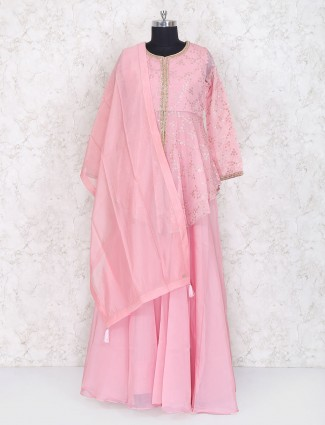 Pretty pink double layer georgette salwar suit