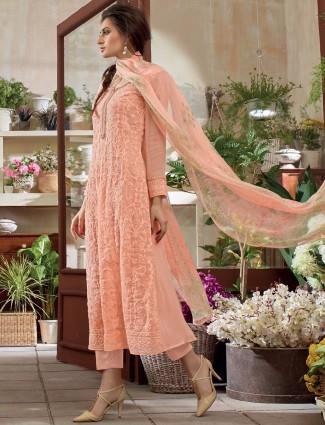 Pretty pink festive wear dress material