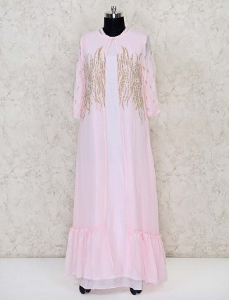 Pretty pink georgette anarkali floor length suit