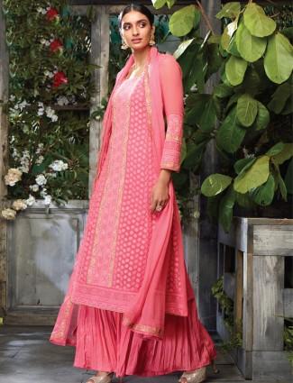 Pretty pink georgette salwar suit