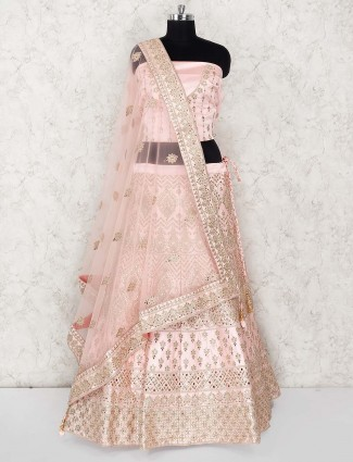 Pretty pink georgette semi stitched lehenga choli