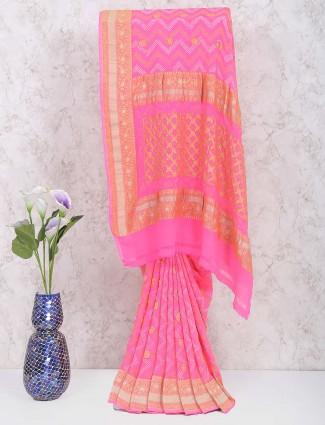 Pretty pink georgette wedding gharchola saree