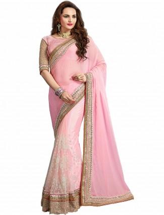 Pretty pink half and half party wear chiffon saree
