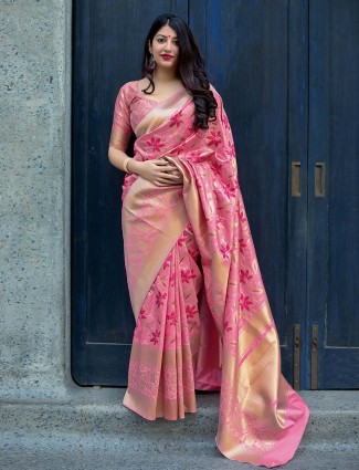 Pretty pink hue semi silk saree