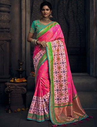 Pretty pink hued semi silk saree