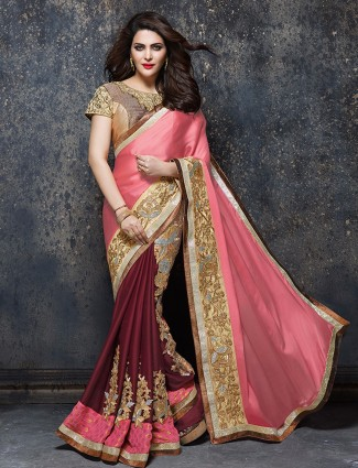 Pretty pink maroon satin party wear saree