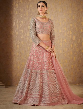 Pretty pink net fabric designer lehenga choli