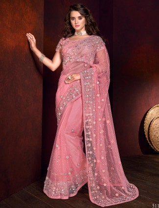 Pretty pink net fabric saree