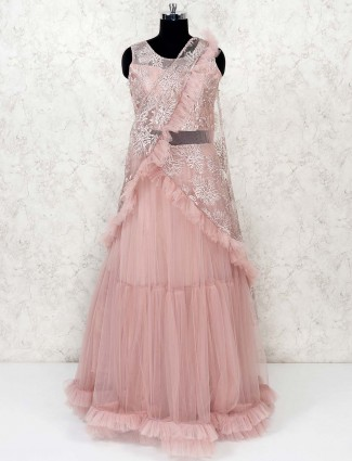 Pretty pink net party gown