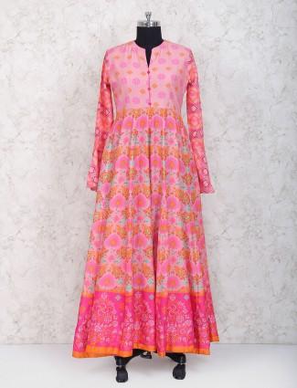 Pretty pink printed cotton silk floor length anarkali suit