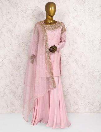 Pretty pink raw silk punjabi palazzo suit