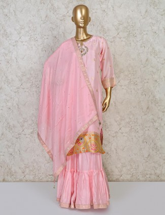 Pretty pink raw silk punjabi sharara suit