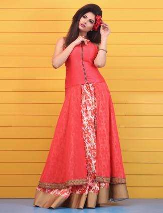 Pretty pink ready made designer georgette lehenga cum party salwar suit