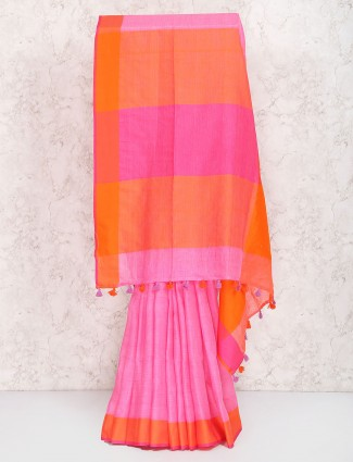 Pretty pink saree in linen fabric