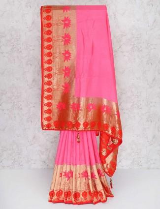 Pretty pink semi silk designer saree